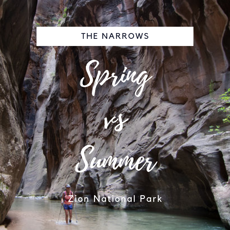 The Narrows: Spring vs. Summer - The Narrows,  in Zion National Park, is one of the most well known and visited slot canyon hikes in ZNP. Is it a seasonal hike? Find out the differences we found between the seasons. Find out what clothes you need to hike the narrows and more.