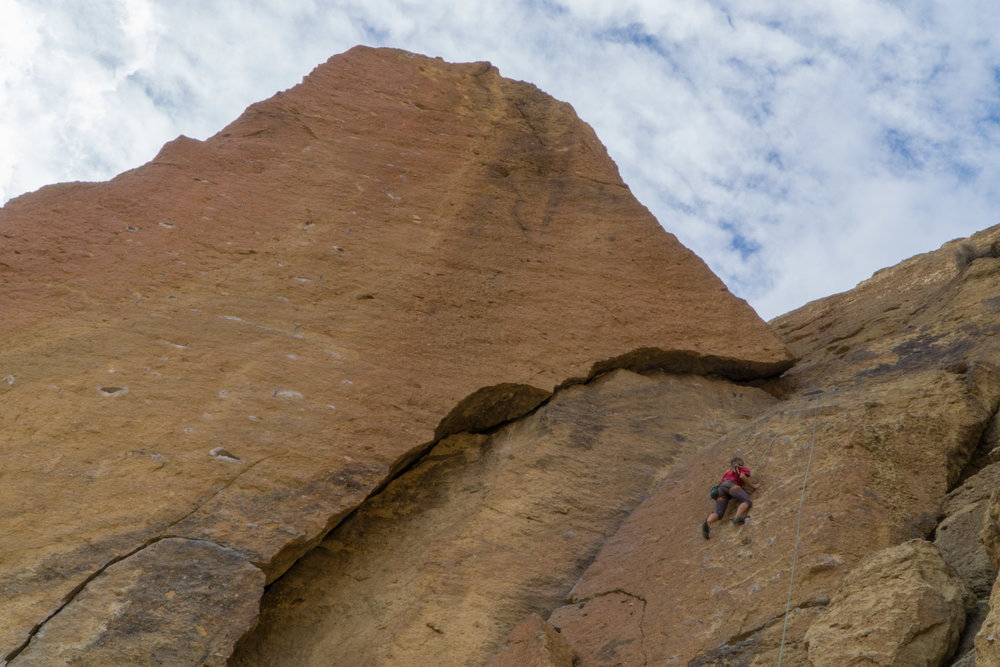 Dani climbs up a fun line in The Dihedrals