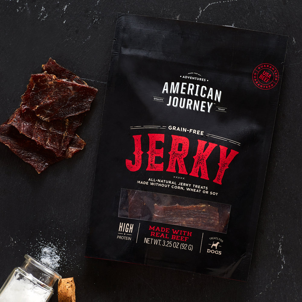 A commercial, lifestyle, fashion, advertising image of American Journey Jerky Treats, an organic healthy plant fiber -  taken by Javier Edwards of El Roi Photo, in Miami, Florida
