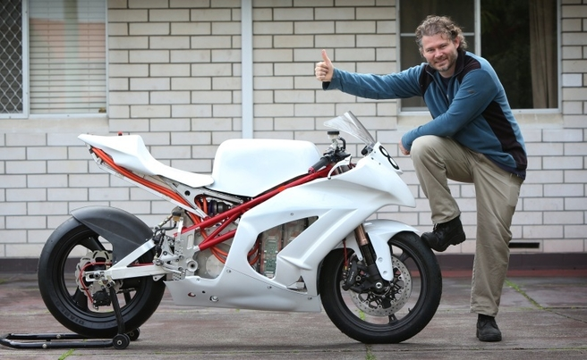 Dr Chris Jones and his EV Racing Bike