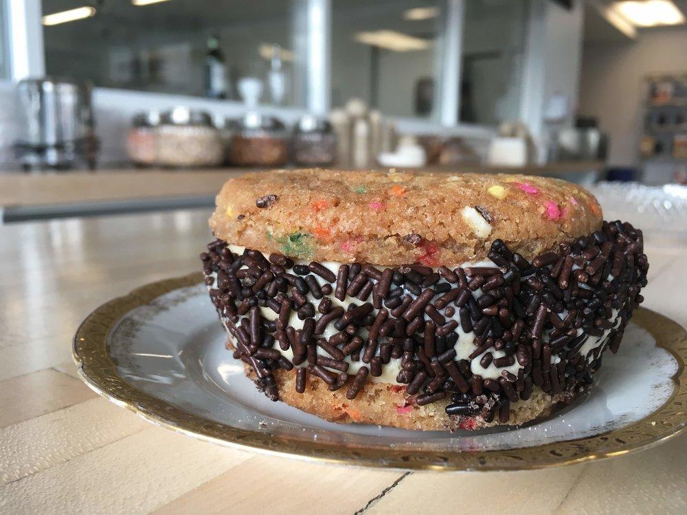 Ice Cream Wich . rainbow sprinkle cookies . chocolate sprinkles