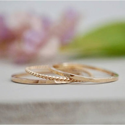 Dainty stacking rings in 14k gold fill and sterling silver.  Available now in my Etsy shop or I just dropped off an assortment of sizes to @townandcountryvintagehome in Maple Ridge. 💕