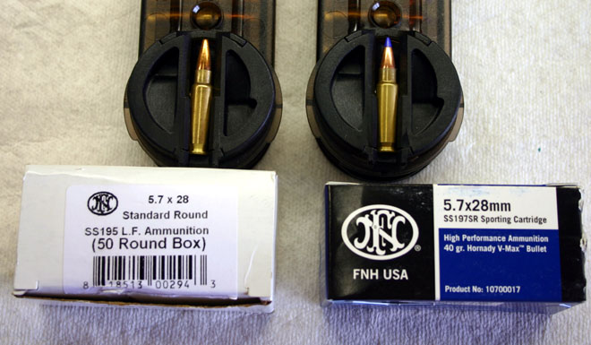 SS195 (white box) and SS197 (blue box) ammunition are shown here
