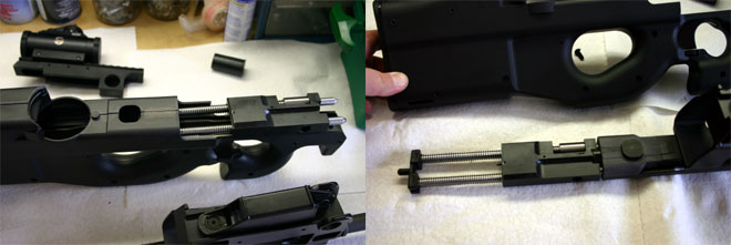 The Moving Parts Group contains the bolt and the recoil assembly