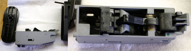 Left - Notice the round indentation on the buttplate cover - the Moving parts Group actually fits into it, holding it stationary.  Right - The Hammer group is largely made of polymer
