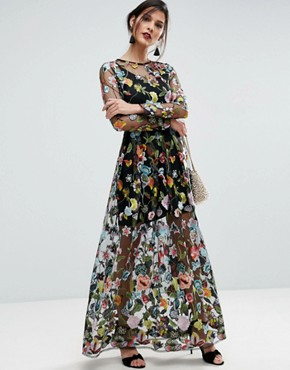 ASOS SALON Embroidered Sheer Maxi Dress, $196.