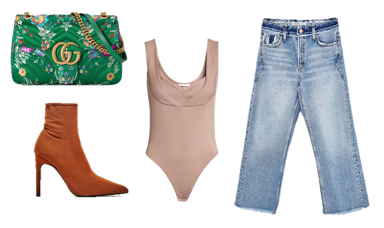 SHOP THE LOOK  // Purse:  Gucci  ($1,790); Bodysuit:  ($12.99); Jeans:  Zara  ($49.90); Boots:  Zara  ($69.90)