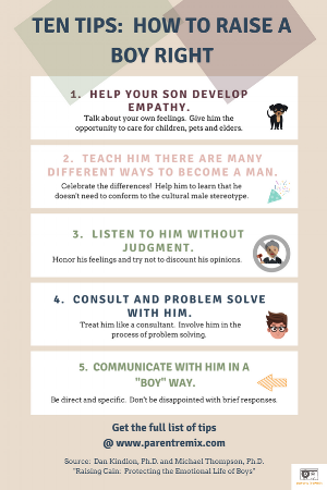 10 Tips :  How to Raise a Boy Right Infographic