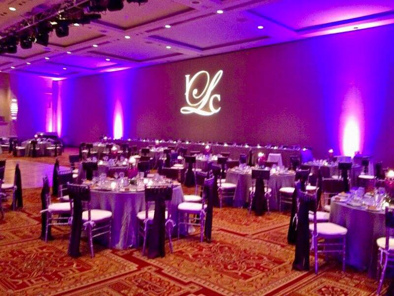 Custom Monogram Lighting and Full-Room Pink Uplighting at The Seneca Niagara Casino in Niagara Falls, New York