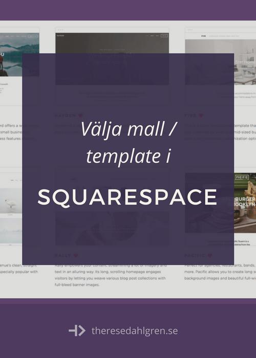 Välj mall i Squarespace efter funktion