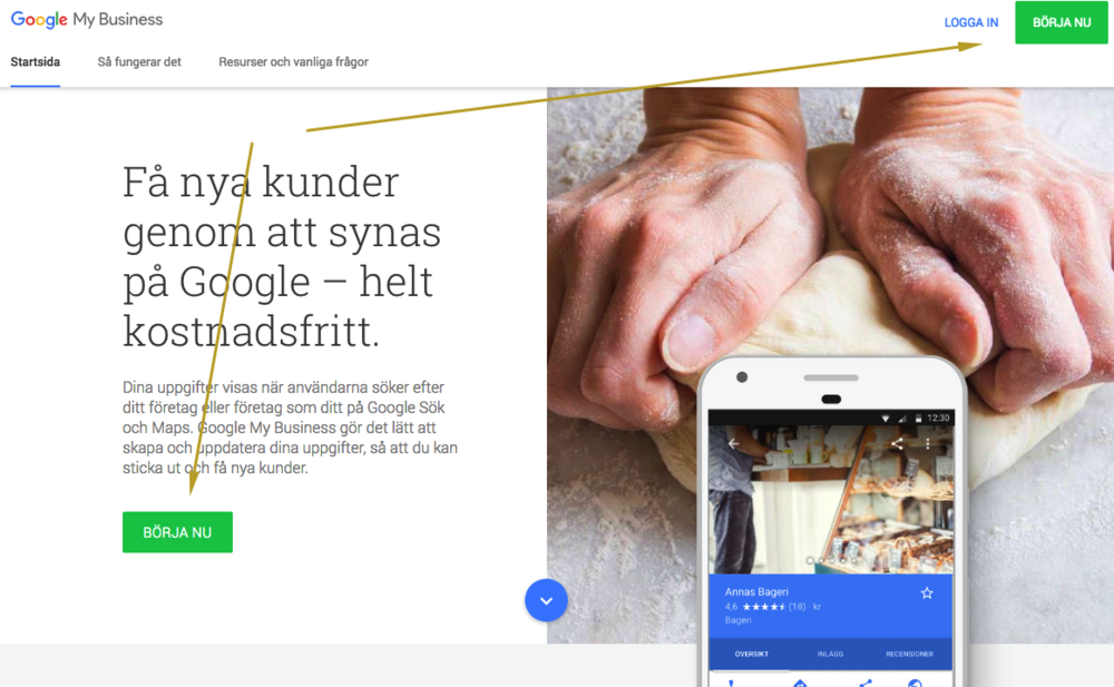 Google My Business registrering