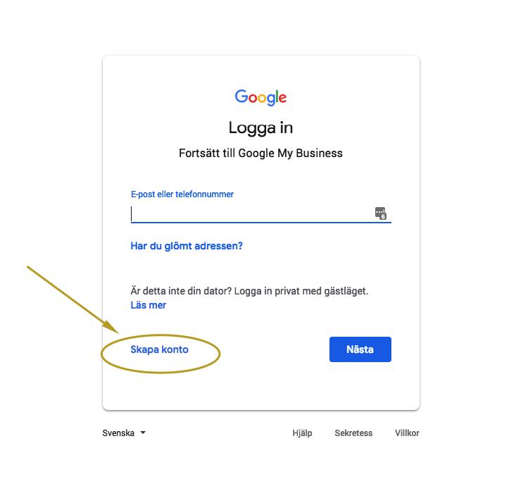 1. Logga in med dig google-konto eller skapa ett konto.