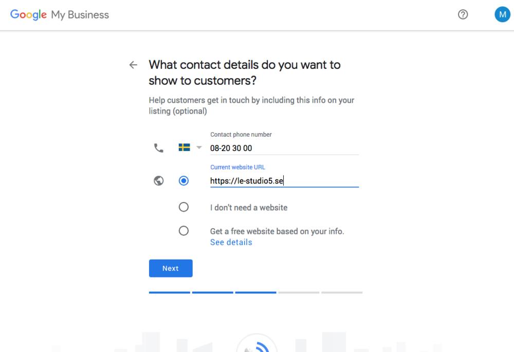 6. Skriv in kontaktuppgifter som du vill visa kunden.