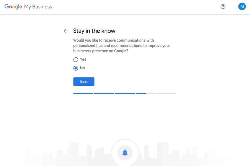 7. Ja el Nej om du vill få hjälp med att ställa in och förbättra inställningar av ditt Google My Business via mejl.
