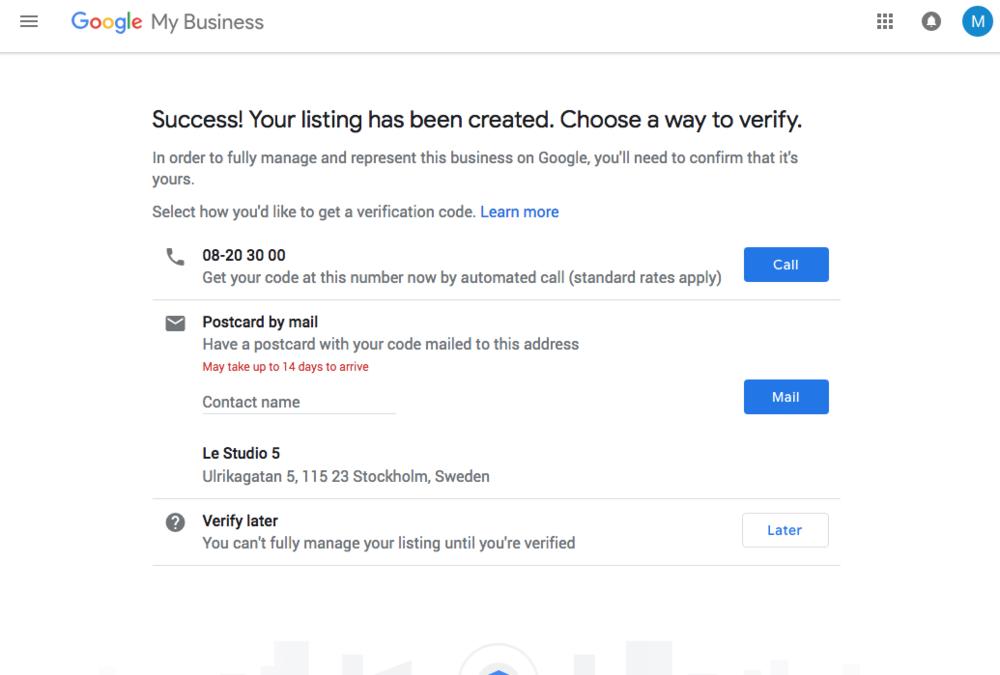 9. Välj vilket sätt du vill verifiera ditt konto. Via telefon eller brev. Brev med kod via posten tar 1-2 veckor.