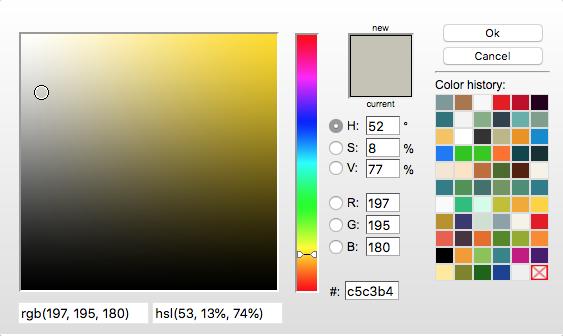 ColorZilla history, nyanser du valt tidigare.