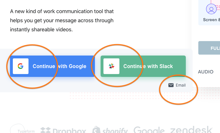 3. Välj inloggnings-variant. Via ditt Google-konto, Slack-konto eller via E-post.