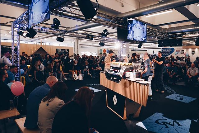 London coffee festival. It was a blast. Here is someone competing @coffee_masters_  and some people watching it