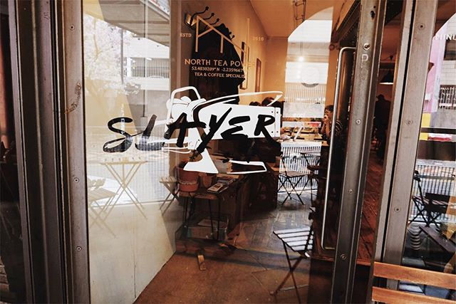 Tomorrow at ours, 7/7:30pm Steve Leighton talks about climate change and cool new stuff happening at Has Bean, while @tailorsonali brews up some Bolivia Don Carlos & a Guatemala Los Jocotales for us to sample, then we eat pizza, drink beer and listen to Slayer. That's why there's a vinyl in the window saying Slayer. No other reason.