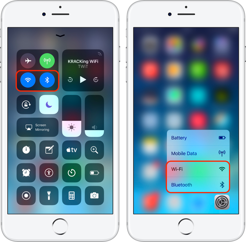Left: Tapping the Wi-Fi or Bluetooth icon from Control Center does not turn the radio off  Right: 3D Touch the Settings app to quickly access the desired radio buttons