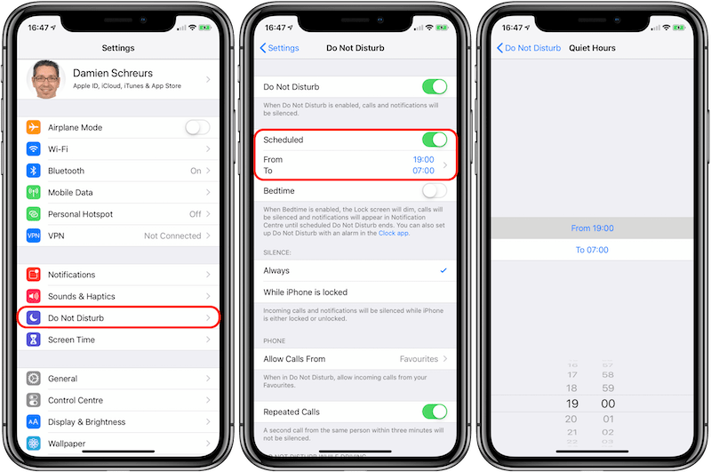 Configure Do Not Disturb on iPhone via the Settings app
