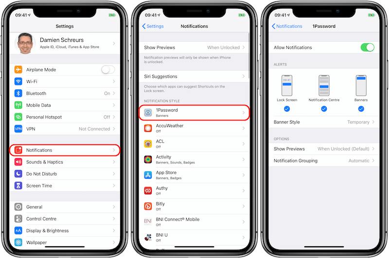 MP09 - iOS 12 iPhone X - Configure Notifications Annotated 800px.png