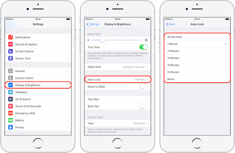 N4 - Auto-lock setting on iPhone 8+ iOS 12 Annotated 800px.png
