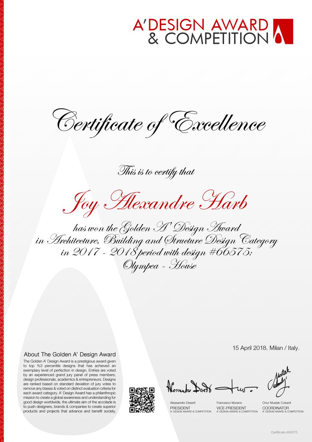 JYH International Architects A' Design Award