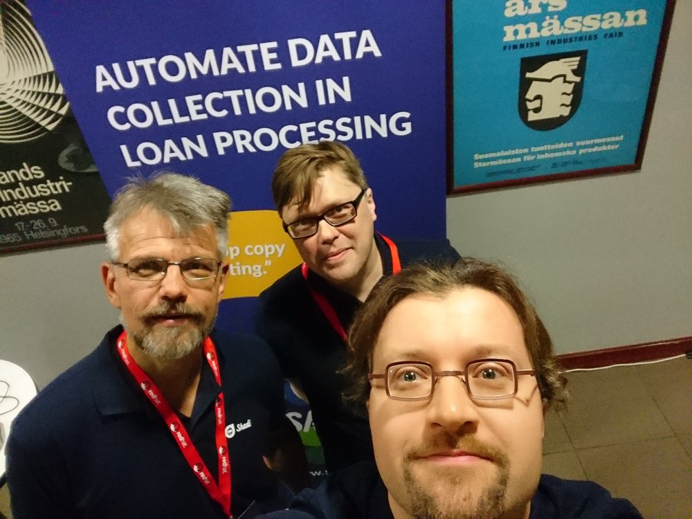 Skadi's Aarne Ylä-Rotiala, Timo Koola and Mikko Nikkanen at the Future Digital Finance Forum in Helsinki in April 2018. Many visitors at Skadi's stand did not carry business cards.