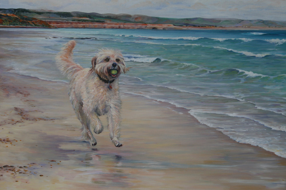 Commission: 'Lu Lu', Groodle. Oil on canvas. Approx 85 x 61cm.