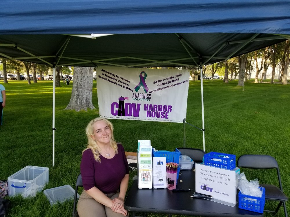 CADV Executive Director Marianne Mckown running the Harbor House booth at the National Night Out event.