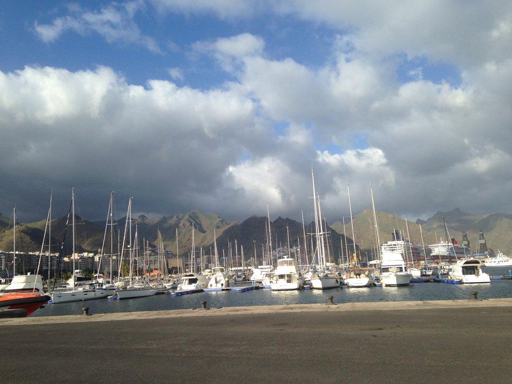 Beach port by mountain range in Tenerife near Horizon Bridge student housing
