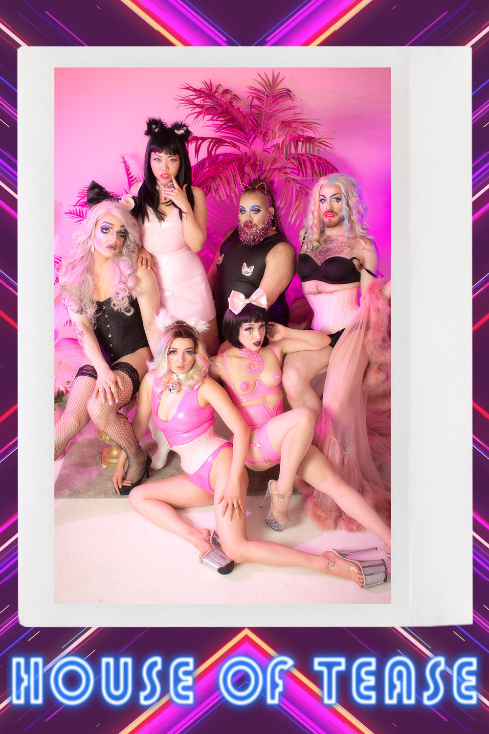 The production team behind Starlight Productions. From left to right (behind to infront), Nikki Ashes, MaybeBaby, Maia Pussy Sparkles, Vanessica Carver, Sacré Bleu and Flowerbomb.   Photographer: Robert Michael Evans