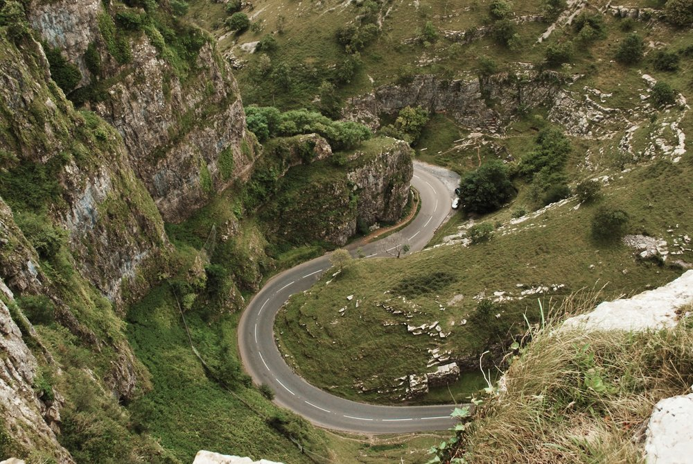 The road twisting its way through the gorge.