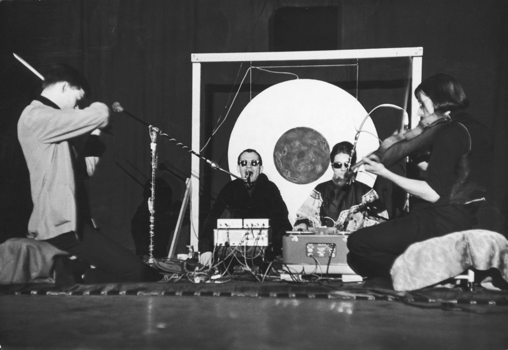 The Theater of Eternal Music performing in 1965. From left, Toby Conrad, La Monte Young, Marian Zazeela and John Cale. Credit Fred W. McDarrah/Getty Images
