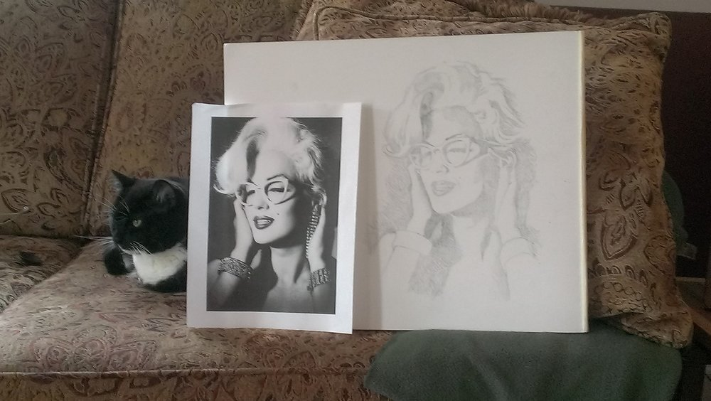 Miss Monroe - Unfinished Graphite Drawing