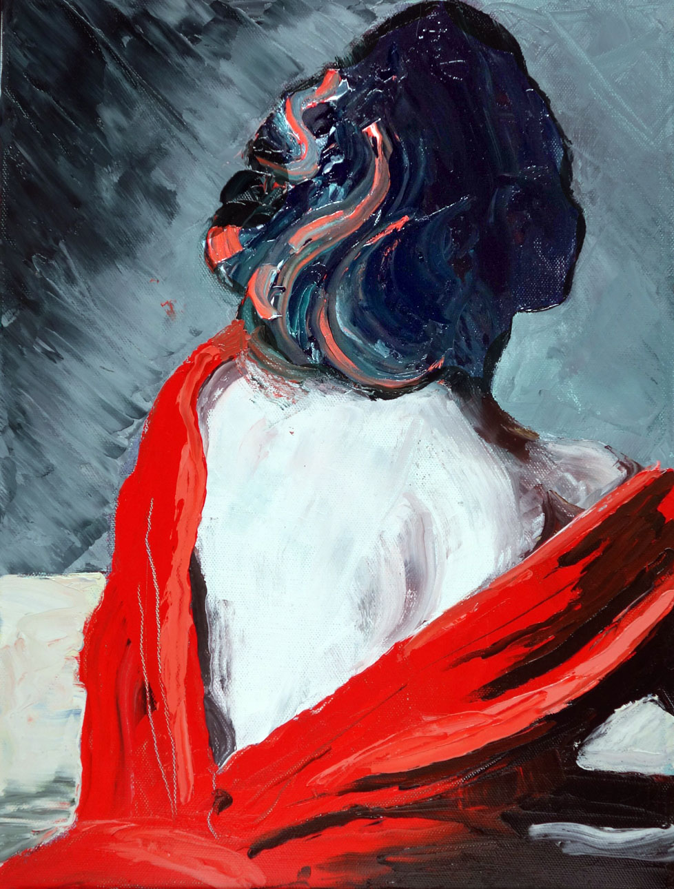 Lady in Red - Oil Painting - SOLD