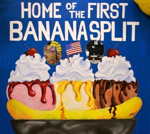 Banana Split Mural - Acrylic Painting on Wooden Panel
