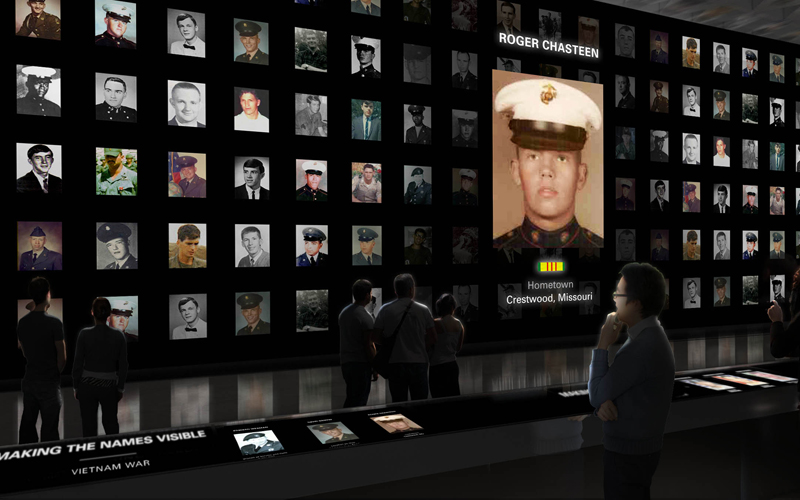 The Wall of Faces exhibit will display the images of the more than 58,00 whose names are memorialized on The Wall, giving a face to the faceless. The visitor sees that these are real people who shared the same hopes and aspirations that we all do. This exhibit will also include a fitting tribute to those who have sacrificed all in the wars in Iraq and Afghanistan. Rendering by Ralph Appelbaum Associates