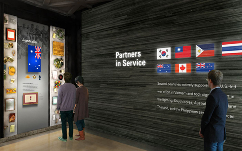 Partners in Service honors the several countries that supported the U.S.-led war effort in Vietnam and took on a significant role in the fighting. Rendering by Ralph Appelbaum Associates