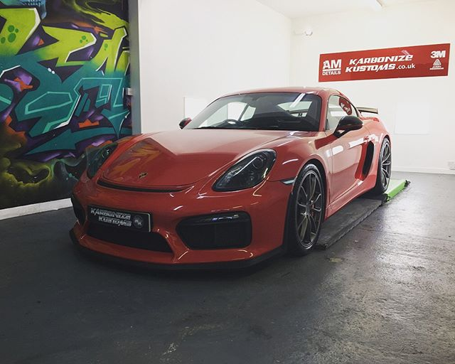 Porsche Cayman GT 4 complete with full front end Paint Protection Film (ppf) 😉👌 We also installed some of our clients requests with subtle satin black vinyl applied in all the correct areas and  really sets the car off giving it an angrier look but not over the top 👍 The car was a joy to work on as from every angle it looks amazing 😍 A little satin and gloss contrast on the spoiler aswell just ties it all together 😀. Booked back in for a little more work just to get the exact look we are aiming to achieve and it will look epic!  #karbonizekustoms#porsche#gt4#rs#averydennison#lovecars#springprotectiondetail#carsofinstagram #cargasm #cars #vinylwrapping #paintptotectionfilm #ppf #detailing #machinepolish #maintenancevalet #paintisdead #waxisdead #amdetailing#scotland #authoriseddetailer