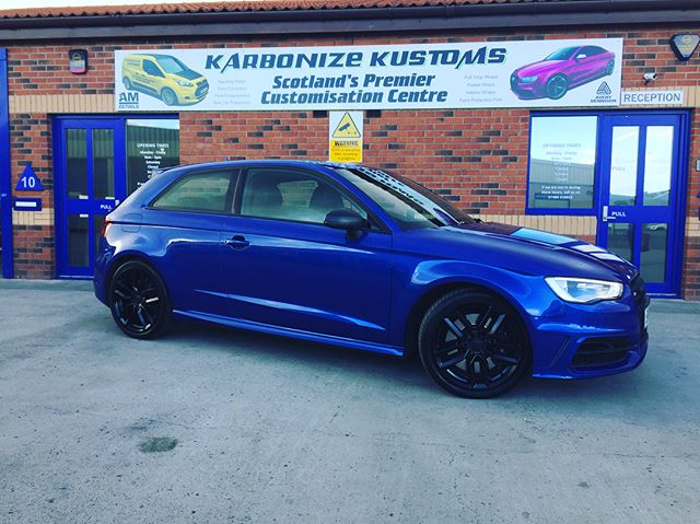 Laura had her stunning Audi S3 back in today for full satin black grill, defuser, badges and also satin black powder coated wheels done by Damo  at WheelCoat 👌 Great job as always! Laura was buzzing when she collected her car from us and was extremely happy she took our advise and went with satin black instead of gloss. I think it totally suits the car and makes the S3 stand out from the rest 😋👍 #karbonizekustoms#audi#s3#averydennison#lovecars#springprotectiondetail#carsofinstagram #cargasm #cars #vinylwrapping #paintptotectionfilm #ppf #detailing #machinepolish #maintenancevalet #paintisdead #waxisdead #amdetailing#scotland #authoriseddetailer