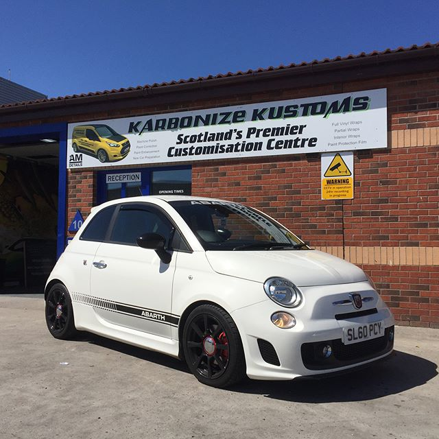 Marco had his little mean machine Fiat Abarth in at KK today for a carbon fibre bonnet wrap adding to that mean appearance 👌🏼😉. #karbonizekustoms#averydennison#lovecars#springprotectiondetail#carsofinstagram #cargasm #cars #vinylwrapping #paintptotectionfilm #ppf #detailing #machinepolish #maintenancevalet #paintisdead #waxisdead #amdetailing#scotland #authoriseddetailer