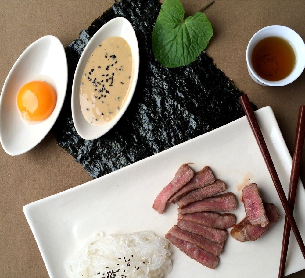 wagyu with egg and sauce