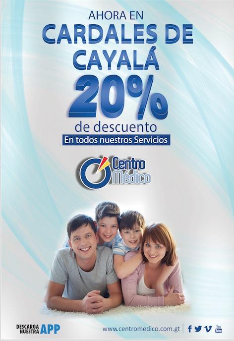Obtén un 20% de descuento en nuestros servicios. Aplica unicamente en Laboratorio de Cardales de Cayalá.