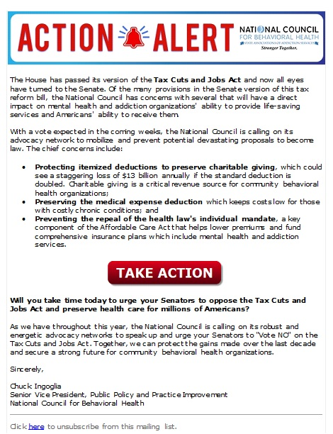 Action Alert Save Americans With >> Alert Urge Your Senator To Vote No On Tax Reform Bill