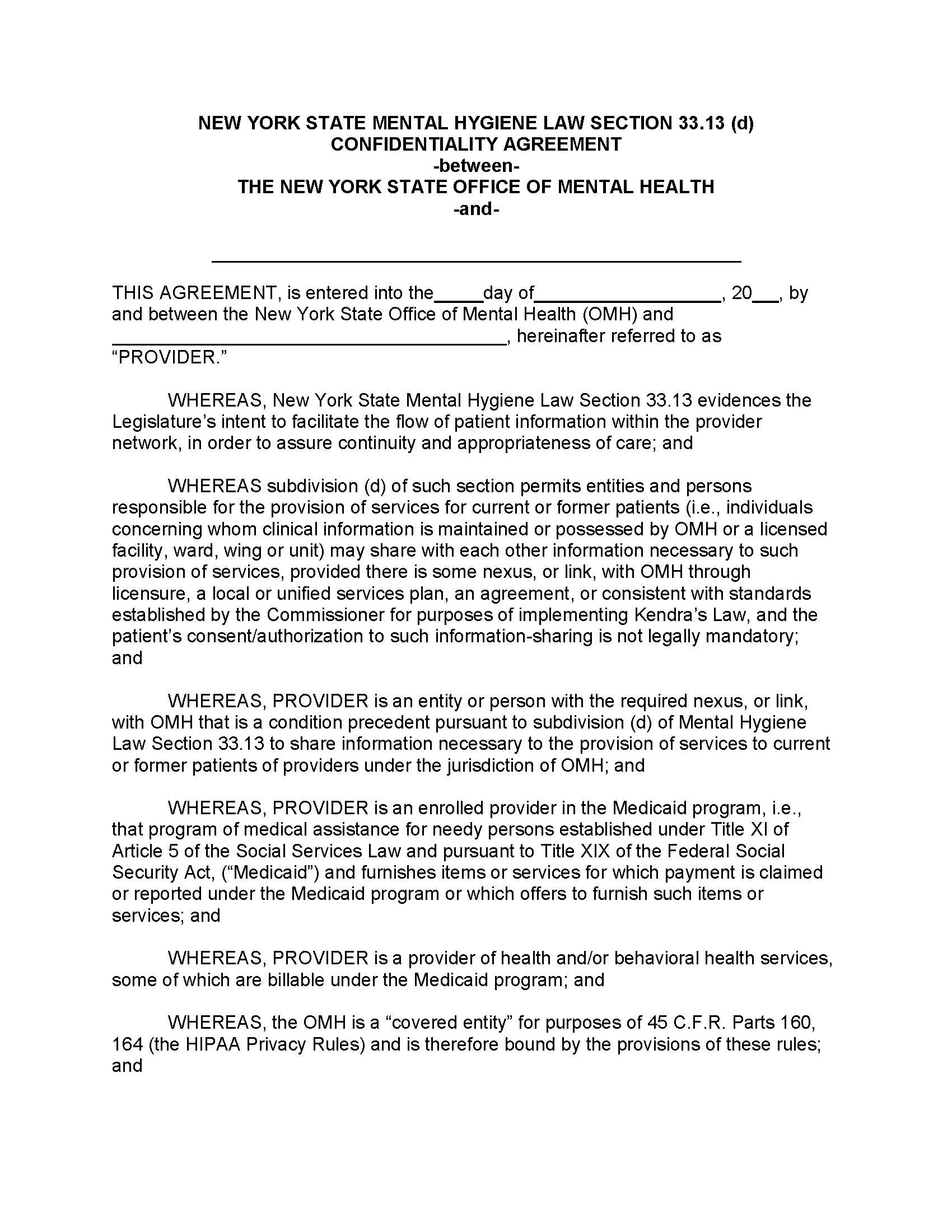 New York State Mental Hygiene Law Section 33 13 D Confidentiality