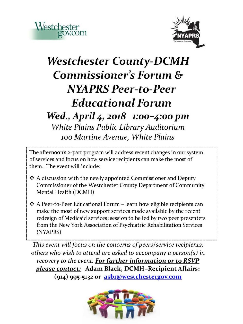 DCMH Commissioner's Forum  NYAPRS Peer-to-Peer Educational Forum - April 4 2018 in White Plains.jpg