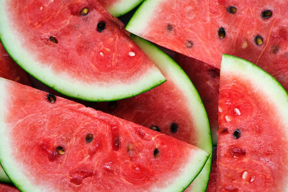 Watermelon is extremely hydrating and also flushes toxins out of the digestive tract. -