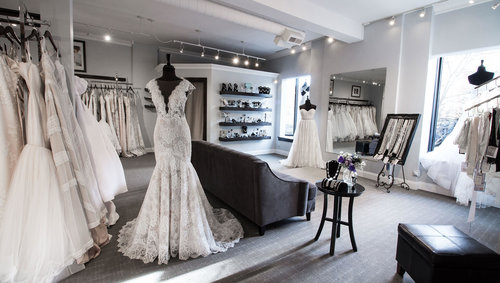 f6a0563011c55 Memories' bridal salons showroom filled with a selection of wedding gowns.
